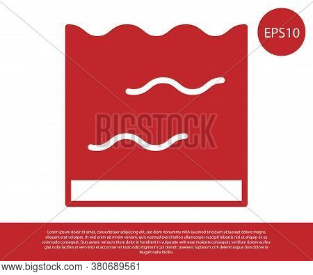 Red Aquarium Icon Isolated On White Background. Aquarium For Home And Pets. Vector