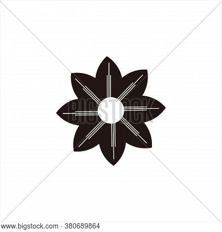 Flower Engraving Icon. Icon With Black Outline Isolated On Transparent Background. Laser Cut Vector