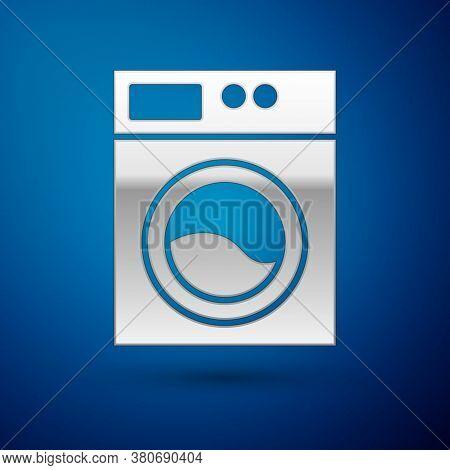 Silver Washer Icon Isolated On Blue Background. Washing Machine Icon. Clothes Washer - Laundry Machi