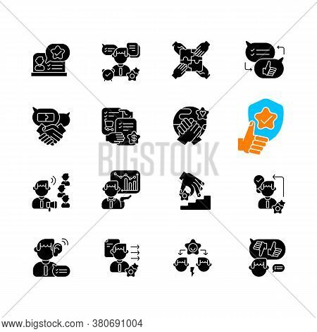 Communication Skills Black Glyph Icons Set On White Space. Different Professional Talents And Person