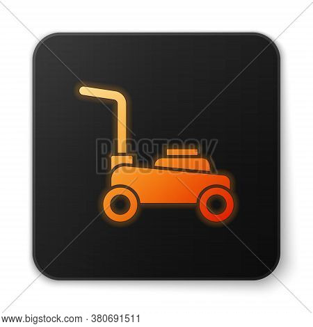 Orange Glowing Neon Lawn Mower Icon Isolated On White Background. Lawn Mower Cutting Grass. Black Sq