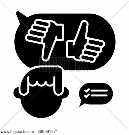 Decision Making Black Glyph Icon. Feedback, Quality Evaluation. Positive And Negative Rating Silhoue
