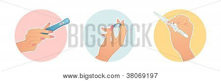 Female Hands Hold A Medical Objects