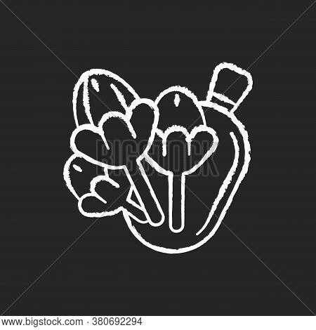 Cloves Chalk White Icon On Black Background. Aromatic Clove Tree Flower Buds. Flavoring Additive. Tr