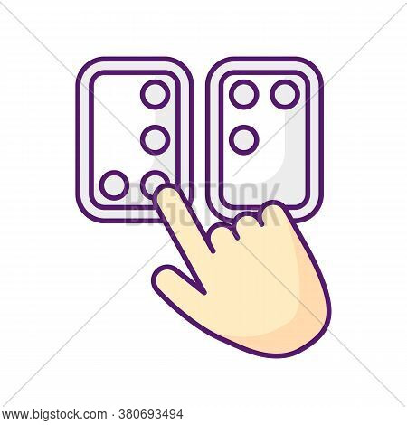 Braille Directions Rgb Color Icon. Tactile Reading System For Blind Persons. Writing System. Braille