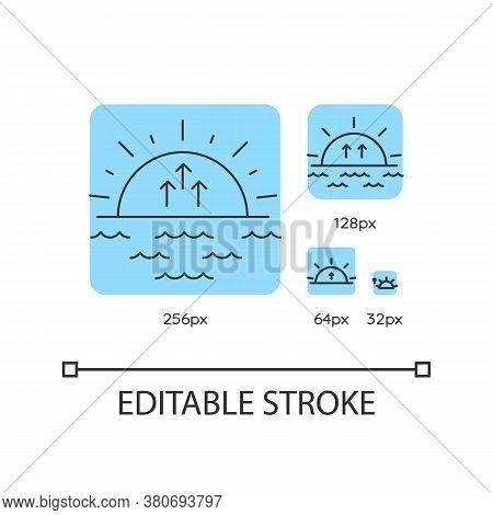 Sunrise Turquoise Linear Icons Set. Morning Sunlight, Dawn, Weather Forecast. Sun Rising. Thin Line