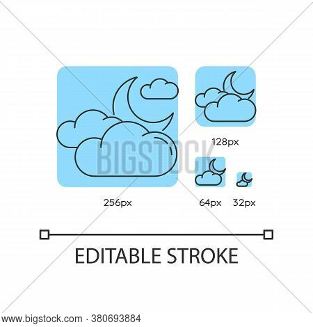 Cloudy Night Sky Turquoise Linear Icons Set. Nighttime Weather Forecast. Crescent And Clouds. Thin L