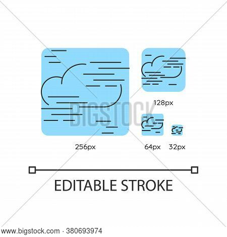 Fog Turquoise Linear Icons Set. Foggy Weather, Meteorological Forecast. Cloud In Mist. Thin Line Cus