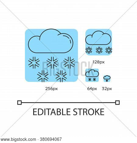Snow Turquoise Linear Icons Set. Meteorological Forecast With Snowflakes, Wintertime Weather. Thin L