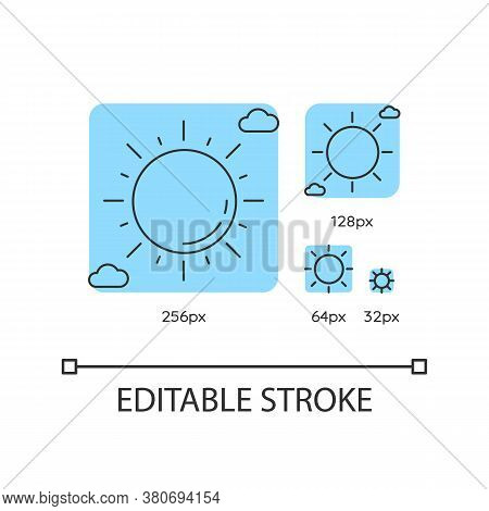 Clear Sunny Sky Turquoise Linear Icons Set. Partly Cloudy Meteo Forecast, Summertime Weather. Thin L