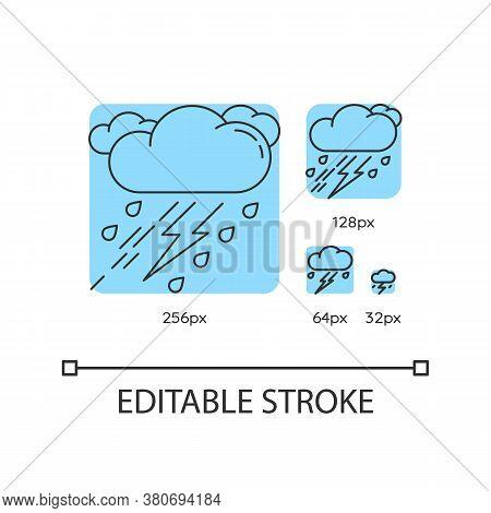 Thunderstorm Turquoise Linear Icons Set. Bad Weather, Meteo Forecast. Raining Cloud With Lightning.