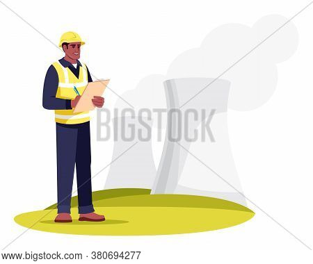 Energetics Specialist Semi Flat Rgb Color Vector Illustration. Industrial Factory Chimneys. Electric