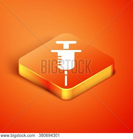 Isometric Syringe Icon Isolated On Orange Background. Syringe For Vaccine, Vaccination, Injection, F