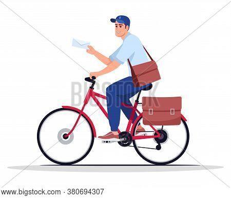 Postman On Bike Semi Flat Rgb Color Vector Illustration. Mailman With Envelope. Postal Carrier. Post