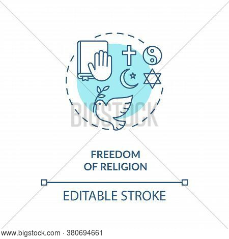 Freedom Of Religion Concept Icon. Religious Pluralism Idea Thin Line Illustration. Fundamental Human