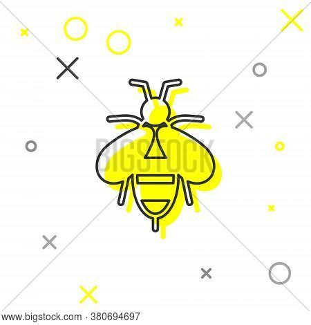 Grey Line Bee Icon Isolated On White Background. Sweet Natural Food. Honeybee Or Apis With Wings Sym