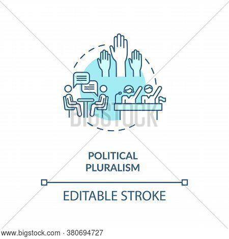 Political Pluralism Concept Icon. Political Body Diversity Idea Thin Line Illustration. Parties Peac