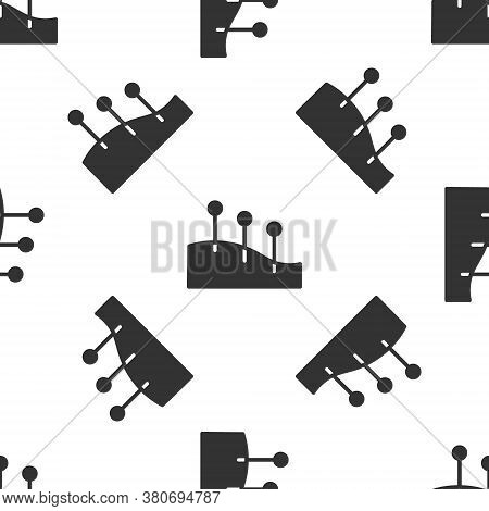Grey Acupuncture Therapy Icon Isolated Seamless Pattern On White Background. Chinese Medicine. Holis