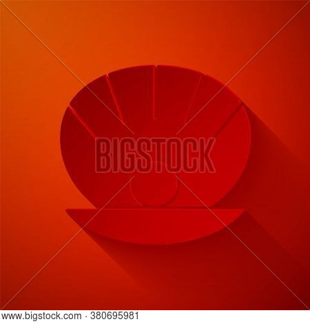 Paper Cut Natural Open Shell With Pearl Icon Isolated On Red Background. Scallop Sea Shell. Seashell