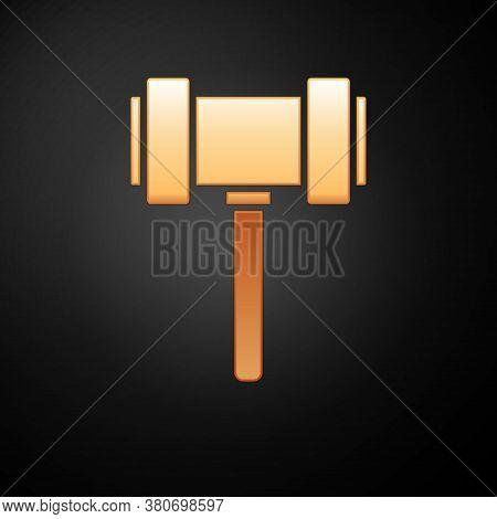 Gold Judge Gavel Icon Isolated On Black Background. Gavel For Adjudication Of Sentences And Bills, C
