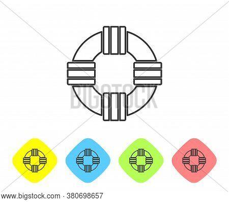 Grey Line Lifebuoy Icon Isolated On White Background. Lifebelt Symbol. Set Icons In Color Rhombus Bu