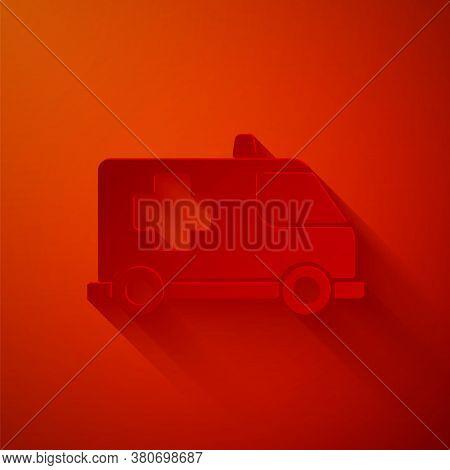 Paper Cut Ambulance And Emergency Car Icon Isolated On Red Background. Ambulance Vehicle Medical Eva