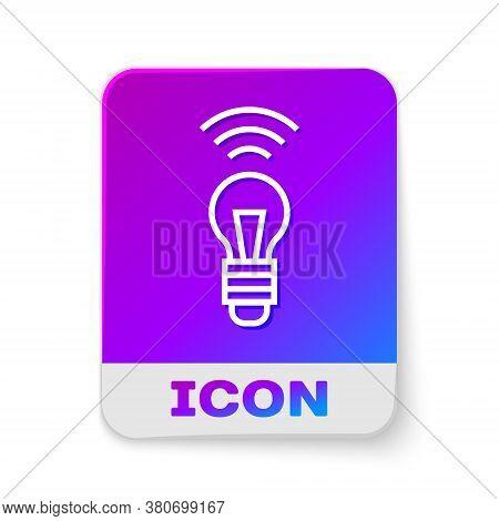 White Line Smart Light Bulb System Icon Isolated On White Background. Energy And Idea Symbol. Intern