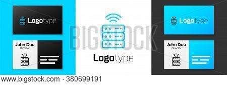 Blue Line Smart Server, Data, Web Hosting Icon Isolated On White Background. Internet Of Things Conc