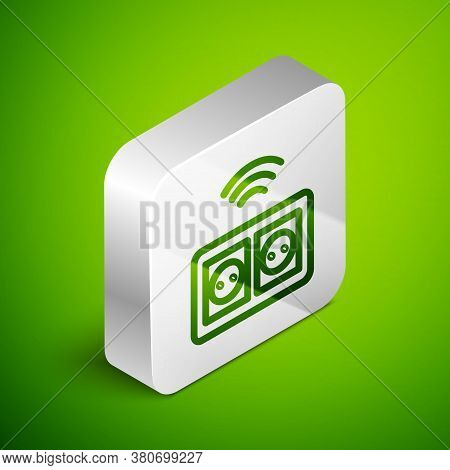 Isometric Line Smart Electrical Outlet System Icon Isolated On Green Background. Power Socket. Inter