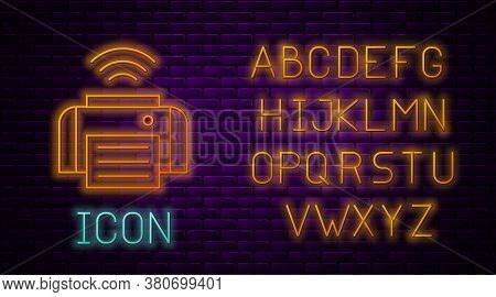 Glowing Neon Line Smart Printer System Icon Isolated On Brick Wall Background. Internet Of Things Co