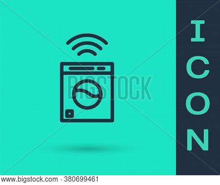 Black Line Smart Washer System Icon Isolated On Green Background. Washing Machine Icon. Internet Of