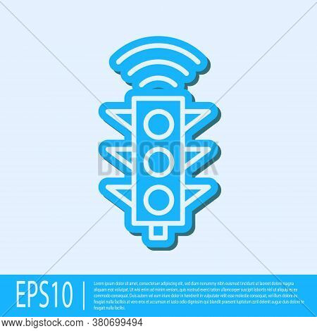 Blue Line Smart Traffic Light System Icon Isolated On Grey Background. Internet Of Things Concept Wi