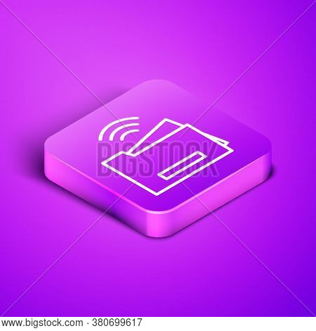 Isometric Line Smart Printer System Icon Isolated On Purple Background. Internet Of Things Concept W