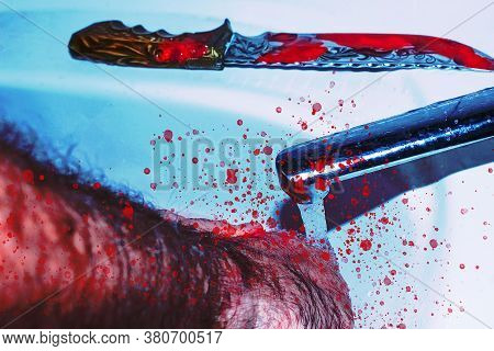 Bloody Box Cutter And Hand In Sink With Flowing Red Blood. Murder Concept Background