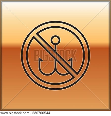 Black Line No Fishing Icon Isolated On Gold Background. Prohibition Sign. Vector