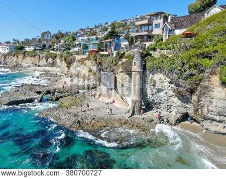 Aerial View Of The Pirates Tower At Victoria Beach In Laguna Beach, South California, Usa, July 8th,