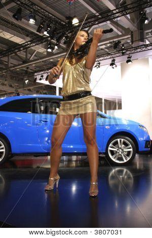 Woman Violin And Car