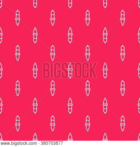 White Line Pipette Icon Isolated Seamless Pattern On Red Background. Element Of Medical, Chemistry L