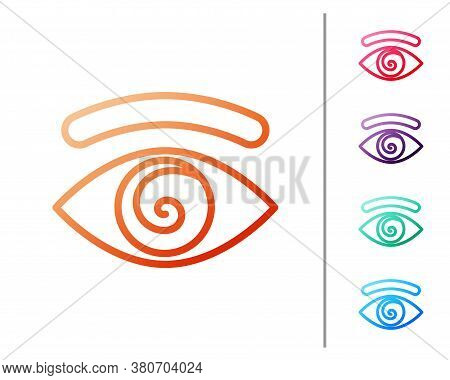 Red Line Hypnosis Icon Isolated On White Background. Human Eye With Spiral Hypnotic Iris. Set Color
