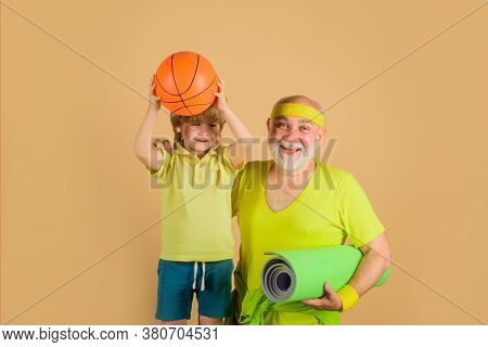 Sporting. Old Man With Yaga Carpet. Basketball. Yoga. Sport Game. Family Time Together. Family Sport