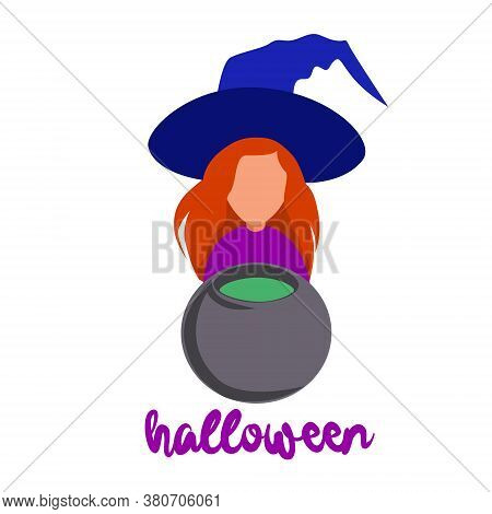 The Little Witch Is Preparing A Potion. She Stirs It In The Pot On The Stove. Red-haired Witch In A