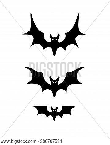 Bats - Black Vector Silhouette. Three Bats Is A Halloween Set. Phases Of The Bat's Flight.