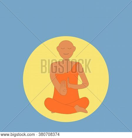 A Young Buddha Monk Meditating Happily In Peace With A Yellow Circle And Blue Background