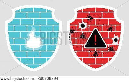Set Of 2 Shields With Cyber Security Brick Wall Icons With Fire, Bullet Holes And Bugs Isolated On G