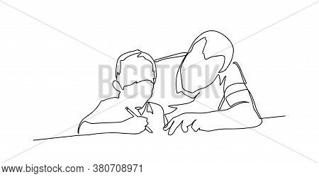 Portrait Of Father Looking At Son While Doing Homework Continuous Line Drawing. One Single Line Draw