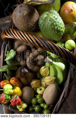 Closeup Of Tropical Fruit Basket Seen From Above