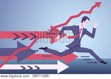 A Running Businessman Expends All His Strength To Get To His Goals.