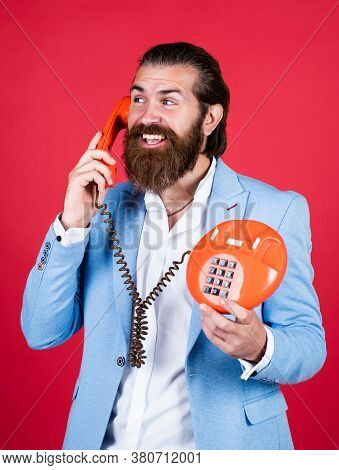 Fellow On The Phone. Young Man Talking On Telephone. Businessman Talking On Vintage Phone. Male Talk