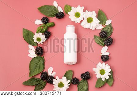 Organic Lotion With Blackberries With Flowers And Basil Leaves On Bright Pink Background. Concept Ve