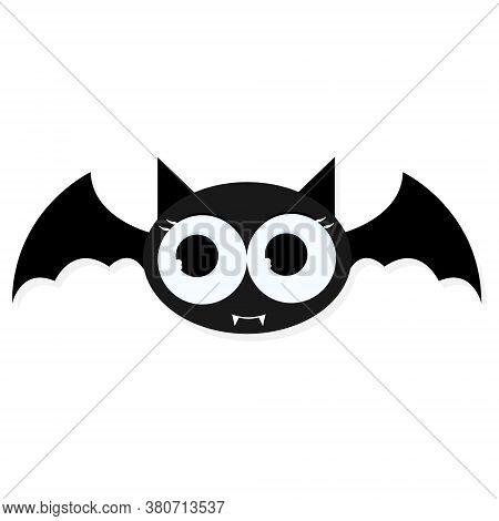 Black Nocturnal Bird With Big Eyes. Bat Vector